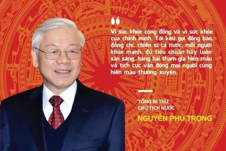 Tổng Bí thư, Chủ tịch nước Nguyễn Phú Trọng kêu gọi đồng bào, đồng chí, chiến sĩ tình nguyện tham gia hiến máu