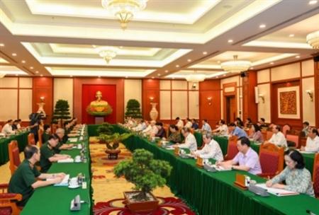 Bộ Chính trị làm việc với Thường vụ Quân ủy Trung ương