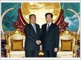 Thủ tướng Nguyễn Tấn Dũng chào Tổng Bí thư, Chủ tịch nước; hội đàm với Thủ tướng và hội kiến Chủ tịch Quốc hội Lào