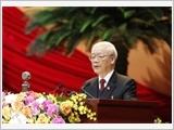 Tổng Bí thư, Chủ tịch nước Nguyễn Phú Trọng đọc Báo cáo của Ban Chấp hành Trung ươngĐảng khóa XII về các văn kiện trình Đại hội XIII của Đảng