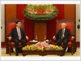Tổng Bí thư Nguyễn Phú Trọng, Chủ tịch nước Trần Đại Quang, Thủ tướng Nguyễn Xuân Phúc tiếp Chủ tịch Quốc hội Trung Quốc Trương Đức Giang