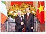 Chủ tịch nước Trần Đại Quang đón, hội đàm; Chủ tịch Quốc hội Nguyễn Thị Kim Ngân tiếp Tổng thống Ai-len M.Hích-gin