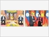 Tổng Bí thư Nguyễn Phú Trọng đón và hội đàm; Thủ tướng Nguyễn Xuân Phúc, Chủ tịch Quốc hội Nguyễn Thị Kim Ngân hội kiến Tổng Bí thư, Chủ tịch nước Lào Bun-nhăng Vo-la-chít