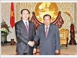 Chủ tịch nước Trần Đại Quang hội đàm với Tổng Bí thư, Chủ tịch nước; hội kiến Thủ tướng, Chủ tịch Quốc hội Lào