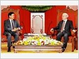 Tổng Bí thư Nguyễn Phú Trọng, Chủ tịch nước Trần Đại Quang, Chủ tịch Quốc hội Nguyễn Thị Kim Ngân tiếp Thủ tướng Lào Thoong-lun Xi-xu-lít