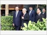 Tổng Bí thư Nguyễn Phú Trọng dự tiệc trà; Chủ tịch nước Trần Ðại Quang hội đàm với Tổng Bí thư, Chủ tịch Trung Quốc Tập Cận Bình