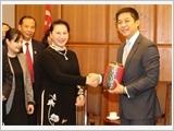 Chủ tịch Quốc hội Nguyễn Thị Kim Ngân hội đàm với Chủ tịch Quốc hội Xin-ga-po