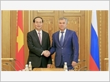 Chủ tịch nước Trần Ðại Quang hội kiến Chủ tịch Ðu-ma quốc gia Nga V.Vô-lô-đin