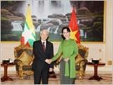 Tổng Bí thư Nguyễn Phú Trọng hội kiến Cố vấn Nhà nước Mi-an-ma A-ung Xan Xu Ki