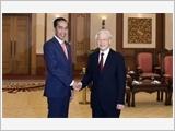 Tổng Bí thư tiếp; Thủ tướng, Chủ tịch Quốc hội hội kiến Tổng thống In-đô-nê-xi-a