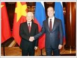 Tổng Bí thư Nguyễn Phú Trọng hội kiến Thủ tướng Liên Bang Nga Đ.Mét-vê-đép