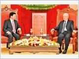 Tổng Bí thư, Chủ tịch nước Nguyễn Phú Trọng tiếp; Chủ tịch Quốc hội Nguyễn Thị Kim Ngân hội kiến Thủ tướng Lào Thoong-lun Xi-xu-lít