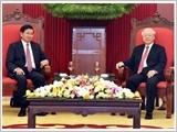 Tổng Bí thư, Chủ tịch nước Nguyễn Phú Trọng tiếp; Thủ tướng Nguyễn Xuân Phúc đón, hội đàm với Thủ tướng Lào Thoong-lun Xi-xu-lít