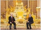 Tổng Bí thư, Chủ tịch nước Nguyễn Phú Trọng hội đàm với Quốc vương Cam-pu-chia Nô-Rô-Đôm Xi-Ha-Mô-Ni