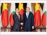 Thủ tướng Nguyễn Xuân Phúc và Chủ tịch Quốc hội Nguyễn Thị Kim Ngân hội kiến Tổng thống Mi-an-ma Uyn Min