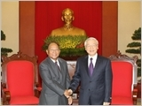 Tổng Bí thư tiếp Chủ tịch Quốc hội Vương quốc Cam-pu-chia