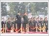 Bộ trưởng Quốc phòng hai nước thực hiện nghi thức chào cờ tại Lễ đón