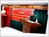 Đại tá, TS. Đỗ Hồng Lâm,  Tổng Biên tập Tạp chí Quốc phòng toàn dân đọc Báo cáo đề dẫn tại  Hội nghị