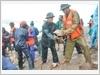 Lực lượng vũ trang Tỉnh tham gia khắc phục sạt lở đê ở huyện Hải Hậu
